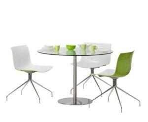 Stainless Cascando / Table ronde H73 x D110 cm verre transparent Cascando (ref. 10406)