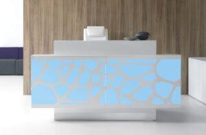 Organic / Banque d'accueil éclairage LED décor central L200 X P140 cm mdd (ref. 10448)