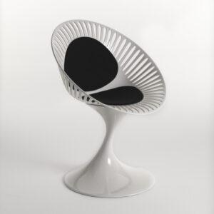 Azhar / Chaise Blanc avec coussins noirs Casprini (ref. 10907)