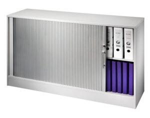 Ufficia / Armoire à rideau basse large L130 x H82 cm aluminium (ref. 11031)