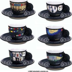 F. Hundertwasser / Tasses espresso par 6 Ars mundi (ref. 11455)