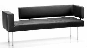 Lei / Canapé 2 places en cuir Noir FratelliFerro (ref. 11590)