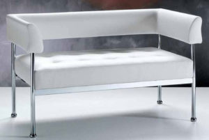 Sissi / Canapé 2 places en cuir blanc FratelliFerro (ref. 11599)