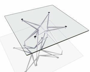 Apollo / Table carrée verre transparent 130 x 130 cm Casprini (ref. 11726)