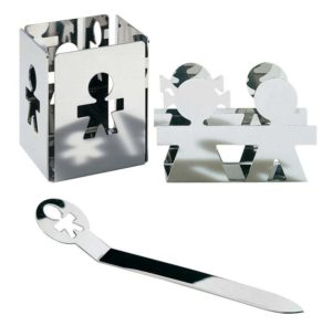 Girotondo / Set pot à crayons + Porte-enveloppes + Coupe-papier Alessi (ref. 12056)