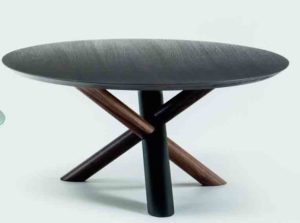 W / Table basse ronde Ø 90 cm plateau Chêne thermotraité Bross (ref. 12108)