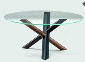 W / Table basse ronde Ø 90 cm plateau verre Bross (ref. 12109)