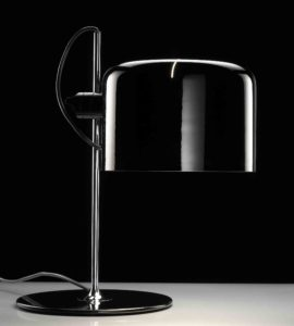 Coupé / Lampe de table Joe Colombo Noir Oluce (ref. 12262)