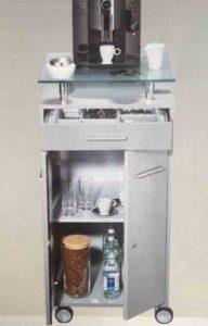 Arabica / Meuble à café sur roulettes gris alu mdd (ref. 12440)
