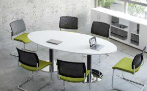 Meeting / Table de réunion ovale 200 cm Blanc (ref. 12545)