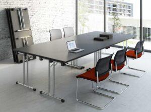 Meeting / Table pliante 160 cm Noir mdd (ref. 12547)