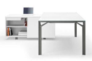X8 / Bureau en verre 210 cm avec dessserte Blanc Officity (ref. 12554)