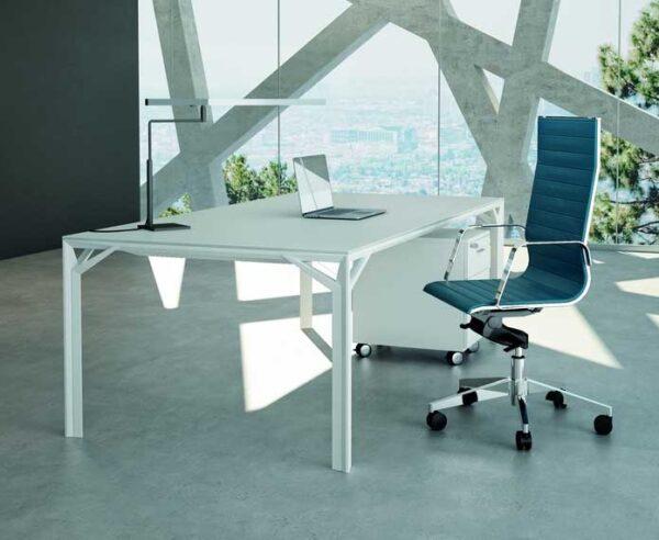 X8 / Bureau 180 cm en verre blanc Officity (ref. 12557i)
