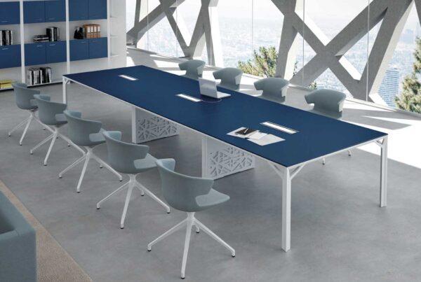 X8 / Table de réunion rectangulaire 480 x 140 cm Bleu Saphir Officity (ref. 12566)