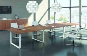 X7 / Table de réunion 480 x 140 cm Noyer Pieds Blanc Officity (ref. 12578)