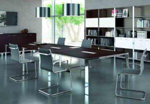 X7 / Table de réunion 480 x 140 cm Wengé Pieds chromé Officity (ref. 12579)