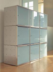QBO / Rangement cubique empilable avec porte en verre 35x35 cm Graepel (ref. 12742)