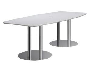 Officemeeting / Table de conférence 220 cm 2 pieds colonnes chromés (ref. 12785i)