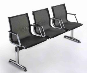 Nulite / Poutre 3 sièges avec accoudoirs dossier résille Noir Luxy (ref. 12862)