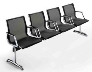 Nulite / Poutre 4 sièges avec accoudoirs dossier résille Noir Luxy (ref. 12863)
