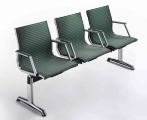 Nulite / Poutre 3 sièges avec accoudoirs dossier similicuir Luxy (ref. 12871i)