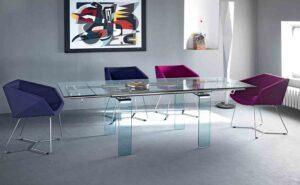 Mambo R / Table à rallonges en verre Midj (ref. 12965i)