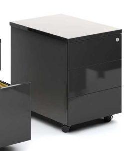 Gloss / Caisson à roulettes 3 tiroirs Noir brillant mdd (ref. 12997)