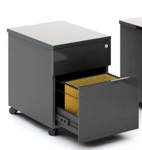 Gloss / Caisson à roulettes 1 tiroir + 1 dossiers suspendus Noir brillant mdd (ref. 12998)
