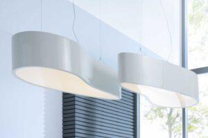 Ellipse / Suspension L150 x H30 cm Blanc brillant mdd (ref. 12999)