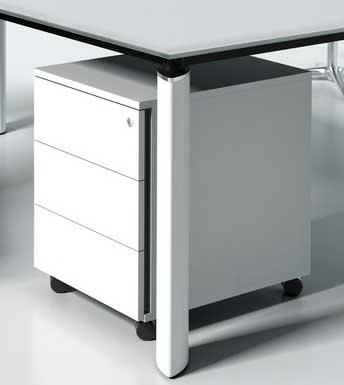 Gloss / Caisson à roulettes 3 tiroirs Blanc brillant mdd (ref. 13051)