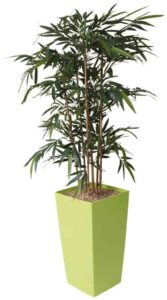 Bambou / Plante artificielle H190 cm Bac carré brillant vert Genexco (ref. 13142)