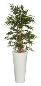 Bambou / Plante artificielle H200 cm Bac rond blanc Genexco (ref. 13143)