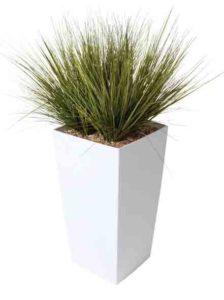 Graminées / Plante artificielle H110 cm Bac carré brillant blanc Genexco (ref. 13146)