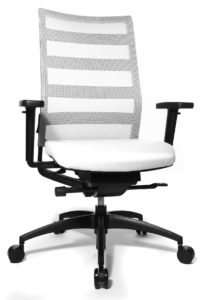 Ergomedic 100-1 / Fauteuil de direction dossier filet assise cuir Blanc Wagner (ref. 13156)