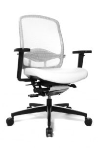 Alumedic 5 / Fauteuil de direction dossier filet assise cuir Blanc Wagner (ref. 13157)