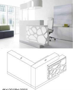 Organic / Banque d'accueil à LED avec retour L166 x P170 cm décor à droite mdd (ref. 13159)