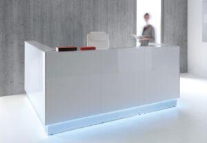 Linea / Banque d'accueil L245 x P165 cm retour à droite Blanc mdd (ref. 13177)