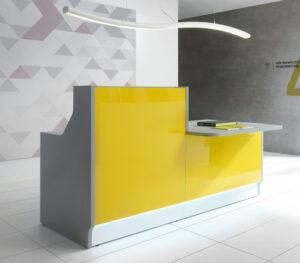 Linea / Banque d'accueil avec PMR L186 x P112 cm jaune mdd (ref. 13178)