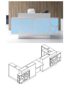 Organic / Banque d'accueil L410 x P137 cm éclairage LED avec PMR central mdd (ref. 13180)