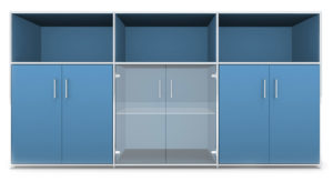 Modul space / Console avec portes battantes et éléments ouverts L237 x H119 cm Bosse (ref. 13474i)