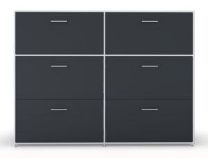 Modul space / Rangement 2 portes à clapet et 4 tiroirs à dossiers suspendus L158 x H119 cm Bosse (ref. 13481i)