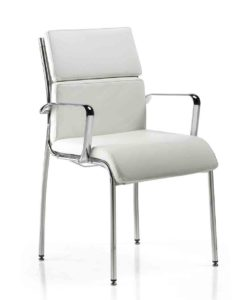 Isis / Fauteuil 4 pieds cuir blanc MBDesign (ref. 13526)