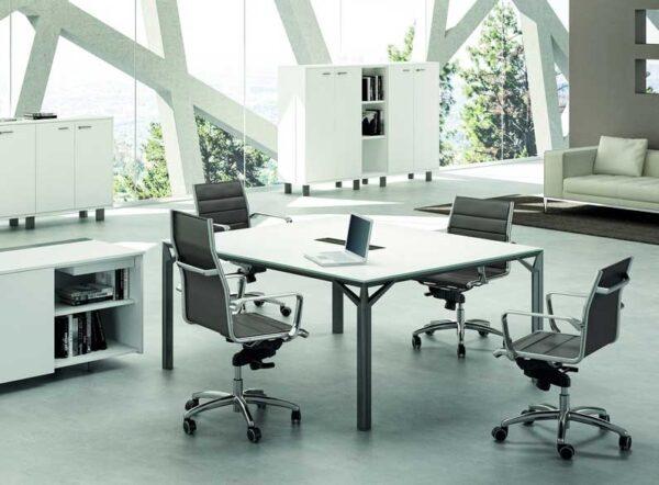 X8 / Table de réunion rectangulaire 160 x 140 cm Blanc Officity (ref. 13527)