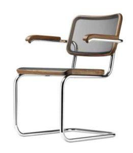S 64 N Thonet Pure Materials / Chaise design résille avec accoudoirs Marcel Breuer Thonet (ref. 13767)