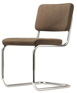 S 32 PV Pure materials / Chaise design Marcel Breuer cuir nubuk marron Thonet (ref. 13769)