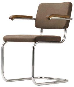 S 64 PV Thonet Pure matérials / Chaise design avec accoudoirs Marcel Breuer cuir nubuk marron Thonet (ref. 13770)