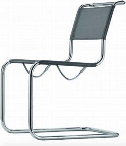 S 33 N Thonet / Chaise design résille argenté Thonet (ref. 13778)