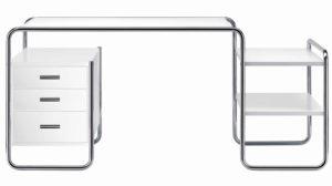S 285 / Bureau Marcel Breuer L164 cm 1 caisson + 2 tablettes Blanc Thonet (ref. 13780)