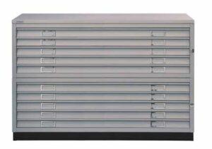 Armoire à plan format A1 / 10 tiroirs avec top et socle Bisley (ref. 13905i)