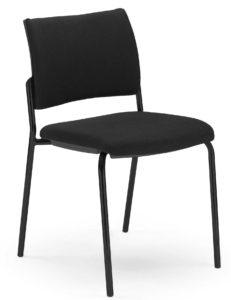Atik / Chaise visiteur tissu 4 pieds Noir MBEco (ref. 14038)